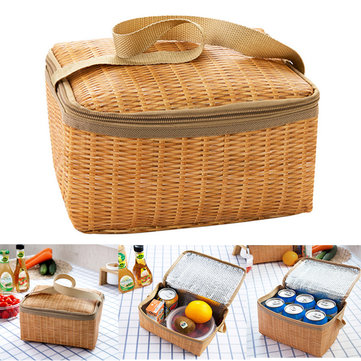 Travel Picnic Lunch Bag Imitation Rattan Brazier Cooler Insulated Tote Handbag