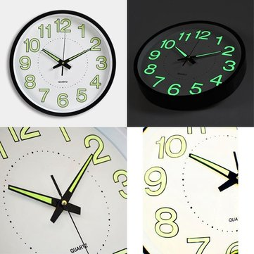 """12"""" 12 Inch Luminous Wall Clock Glow In The Dark Silent Quartz Indoor/Outdoor Green Noctilucent"""