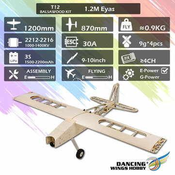 DW Dancing Wings Hobby T12 Balsawood 1200mm Wingspan Light Wood Electronic RC Airplane KIT or PNP