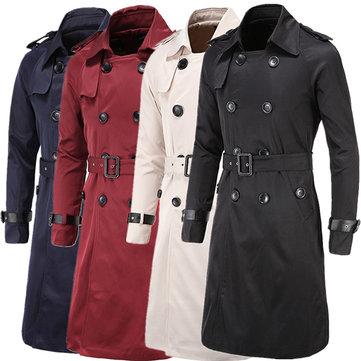 पुरुषों शीतकालीन डबल ब्रेस्टेड ट्रेंच कोट टर्नडाउन कॉलर टॉपकोट स्लिम फिट लंबे ओवरकोट