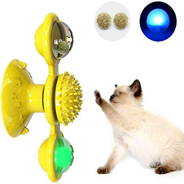Pet Interactive Puzzle Training Cat Toy Turn Around Windmill Turntable With LED Ball And Catnip Ball Tease Pet toy Scratching itching Cat Brush for sale in Bitcoin, Litecoin, Ethereum, Bitcoin Cash with the best price and Free Shipping on Gipsybee.com