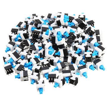 100pcs 8 x 8mm 6 Pin Touch Self-locking / Switch Push Button Switch Latching Switch