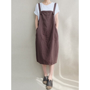 Casual Women Solid Color Cord Pocket Pinafore Dress