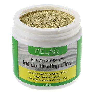 Melao Natural Ấn Độ Clay Clay Pores Deep Cleansing Facial Mask Powder Canxi Bentonite