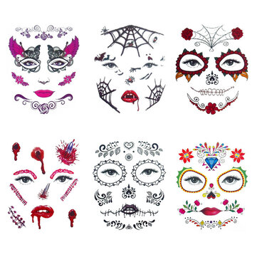 6st / set Halloween kostym Cosplay Party Makeup Face Eye Terror Tillfällig Tattoo Sticker Vattentät