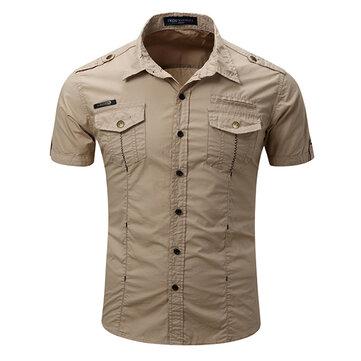 Mens Outdoor Washed Last Bröstfickor Solid Color Down-Down Collar Casual Skjortor