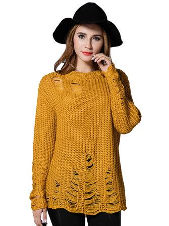 लूज महिला शुद्ध रंग फिसल छेद बुना हुआ पुलओवर स्वेटर