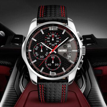 SKMEI 9106 5ATM防水スポーツメンズ腕時計カレンダー機能ストップウォッチクォーツ時計