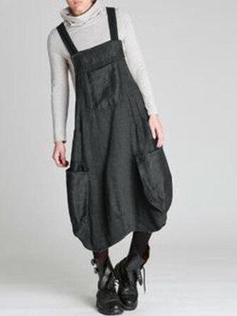 Women Straps Sleeveless Back Cross Pocket Dress Overalls