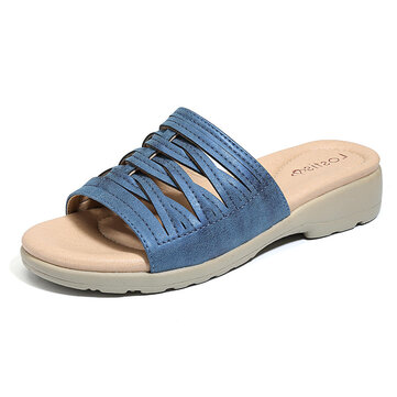 LOSTISY Cross Tie Lightweight Comfy Wedge Sandals For Women