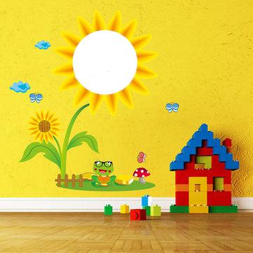 Barn Kreativ Tvättbar Väggdekal Solros skiss Rumsinredning