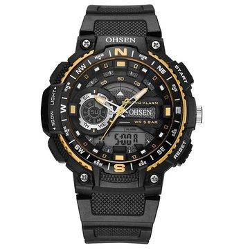 OHSEN AD1705 Reloj digital Dual Pantalla Multifunción LED Reloj deportivo de natación para hombres