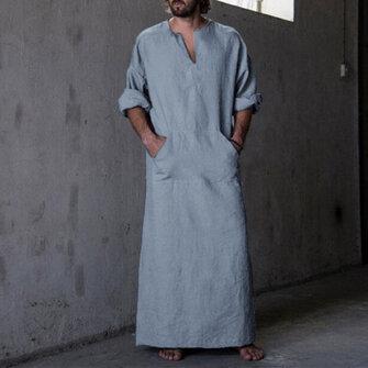 INCERUN Vintage Loose Comfy Bomull Kaftan Toppar Punk Size Long Robe Loungewear Tunika för män