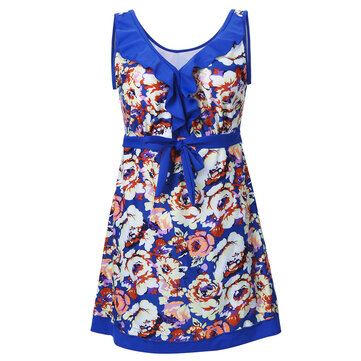 प्लस आकार महिला आस्तीन वायरलेस पेनी ब्लूम प्रिंटिंग वी गर्दन ड्रेस बिकनी