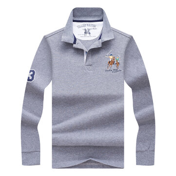 Bordado de la moda de los hombres de primavera otoño LOGO Golf Camisa Playera de la manga larga de la solapa de negocios informal