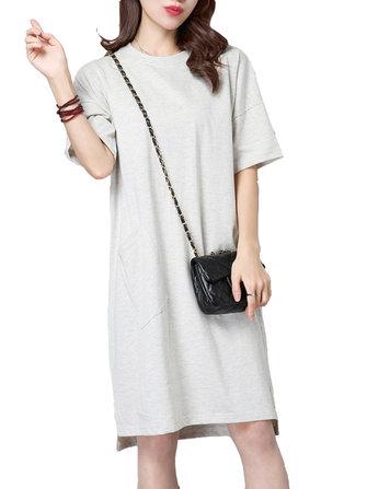महिला शुद्ध रंग पॉकेट लघु आस्तीन ओ गर्दन स्प्लिट ड्रेस