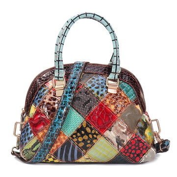 Women Genuine Leather Bohemian Floral Crossbody Bags Vintage Patchwork Shell Handbag