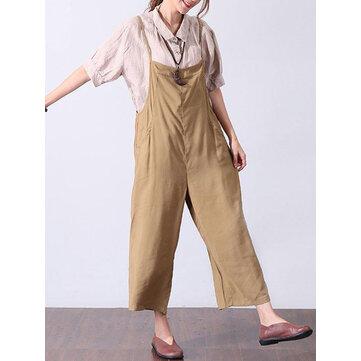 Women Jumpsuit Adjustable Straps Harem Trousers Long Trouser Romper