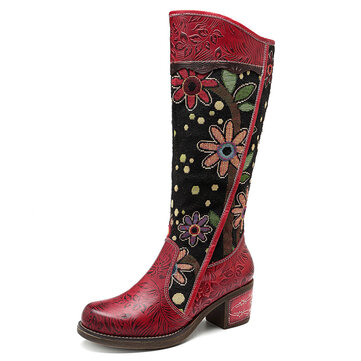 SOCOFY Splicing Pattern Embroidery Genuine Leather Mid Calf Boots