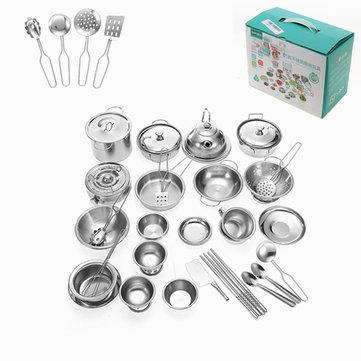 Enpei 40pcs Mini Kitchenware Play Set Kitchen Pan Pot Dish Stainless