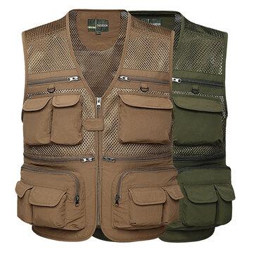 Mens Outdooors Fishing Spring Autumn Multi Pocket Mesh Photojournalist Loose Vest Waistcoat