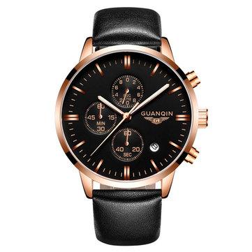 Lyx GUANQIN Märke Män Mode Armbandsur Vattentät Chronograph Leather Quartz Watch GQ12006