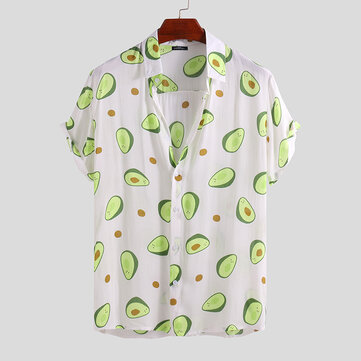 Mens Avocado Printed Summer Hawaiian Vacation Fashion Shirts