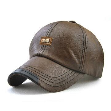 Men Vintage Man-made Leather Baseball Cap Outdoor Windproof Warm Hats Adjustable Sports Caps