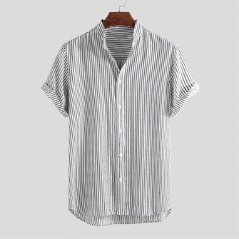 पुरुषों धारीदार स्टैंड कॉलर लघु आस्तीन गोल हेम ढीला शर्ट