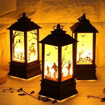 Batteria Powered Halloween Vintage Pumpkin Castle LED Flame Night Light Hanging Lanterna Decorazioni per feste