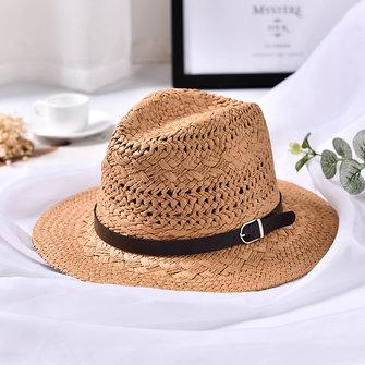 Phụ nữ mùa hè có thể gập lại Kem chống nắng Jazz Beach Hat Straw Hollow Sun Sun Caps