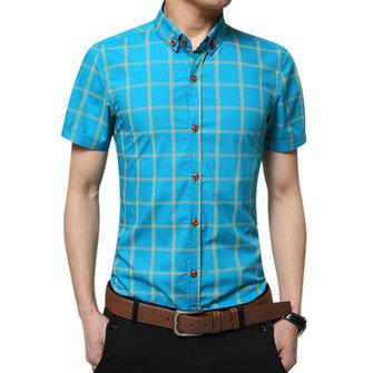 Business Casual Plaid Printed Slim Fit Bomull Kortärmad Klänningskjortor för män