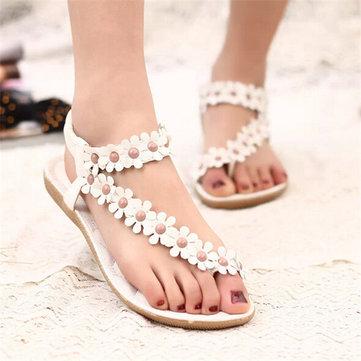 Bohemia Flowers Strappy Y Shape Clip Toe Flat Elastic Band Sandals