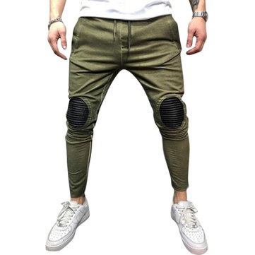 How can I buy Cotton Patchwork Drawstring Elastic Waist Hip Hop Skinny Pants for Men with Bitcoin