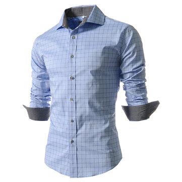 पुरुषों के फैशन प्लेड लंबे बाजू के अंचल चेकर शर्ट
