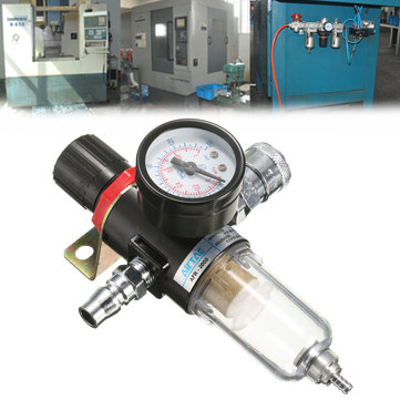 RETYLY 1//4 Air Compressor Filter Water Separator Trap Tools Kit with Regulator AFR-2000