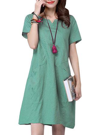 आरामदायक महिला लूज शुद्ध रंग वी-गर्दन पॉकेट लघु आस्तीन पोशाक