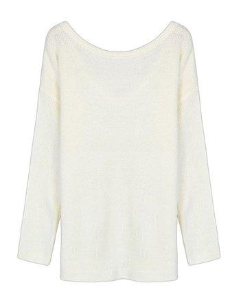 सफेद ढीले महिला बंद कंधे वापस गहरी वी-गर्दन पफ बुना हुआ स्वेटर