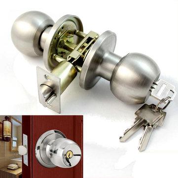 Stainless Steel Bathroom Round Door Knobs Set Handle Entrance Lock With Key