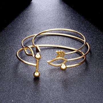 Sweet A Set Of Open Cuff Bracelet Trendy Minimalist Arrow leaves Adjustable Bracelets For Women