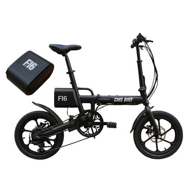 CMSBIKE F16 Extra Battery Set 36V 7.8AH 250W Black 16 Inches Folding Electric Bicycle