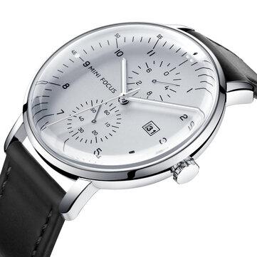 MINI FOCUS MF0052G Læderrem Men Watch Casual Style Luminous Hand Quartz Watches