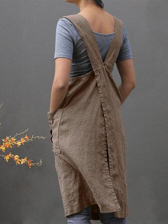 Kadın Kolsuz Yan Cepler Pamuk Gevşek Düz Renk Vintage Önlük Elbise
