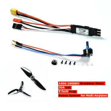 ZOHD 1406-2600KV Brushless RC Motor + 30A ESC + 5 Inch Prop Power System Combo