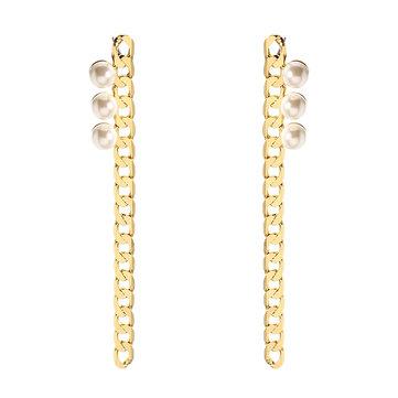 JASSY® Elegant Pearl Earrings Simple 18K Gold Plated Chain Pendant Long Ear Stud Gift for Women