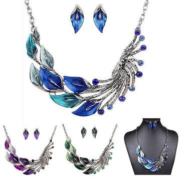 Gradien Warna Daun Merak Enamel Kristal Kalung Menjuntai Anting Perhiasan Set untuk Wanita