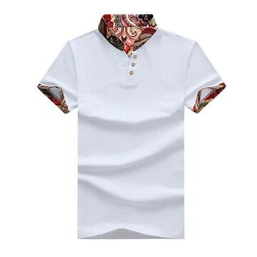 प्लस आकार पुरुषों राष्ट्रीय हवा मुद्रित टी शर्ट आरामदायक वी गर्दन लघु आस्तीन गोल्फ शर्ट