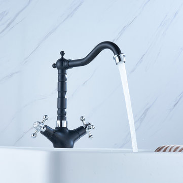 Brass Kitchen Sink Faucet Bathroom Basin Hot & Cold Water Mixer Tap Double Handle