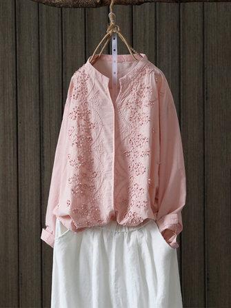 Mujer blusa bordada floral de manga larga retro