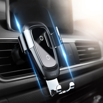 Baseus Metal Glass 10W Qi Wireless Charger Fast Charging Gravity Linkage Automatical Lock Air Vent Car Phone Holder For 4.0 Inch - 6.5 Inch Smart Phone